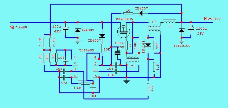 此电路是电动车48v转换12v的dc电源