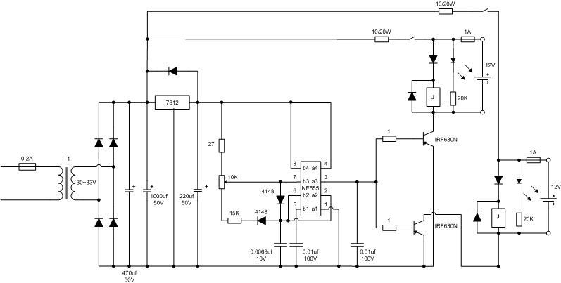 求:简单实用铅酸电池修复仪电路图