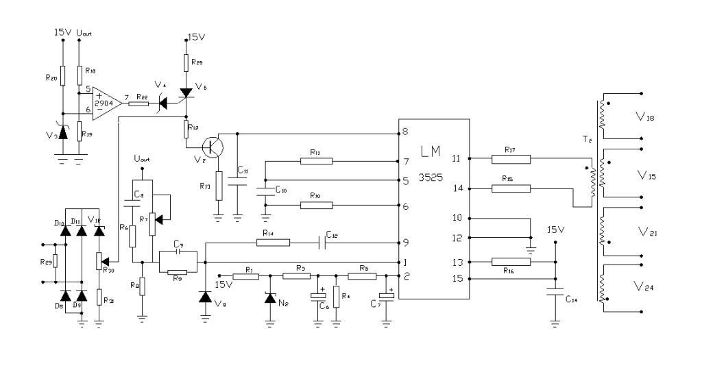 图是10a高频开关电源的3525的接线图