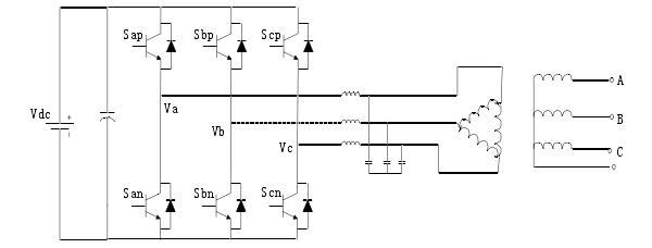 三相半桥式逆变器以输入电压的中点作为中线