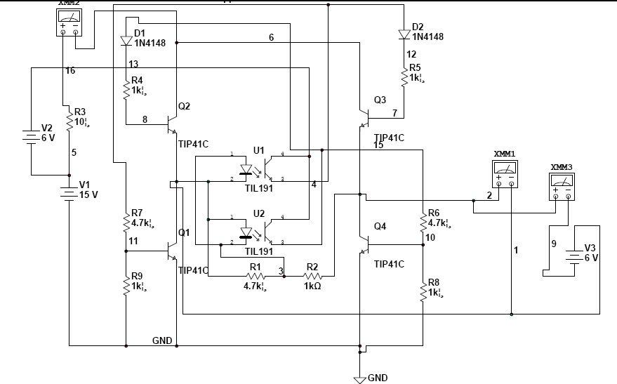 充电器自动转换正负极线路.四个三极管.四个电阻