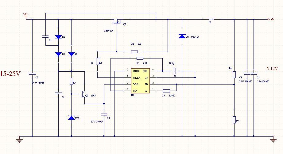3843做的dc转dc降压电路5-12v