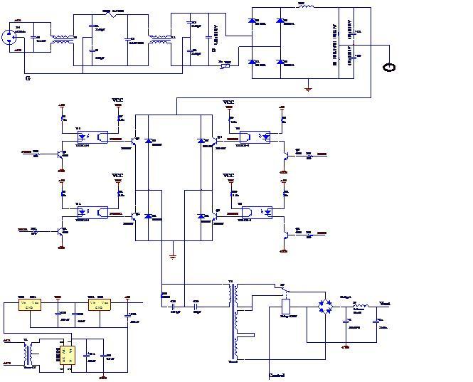 图1 电路原理图 现在有以下几方面的问题,请教各位: 1. 光耦驱动电路。光耦选用TLP521。我不知道采用此种驱动电路是否合适,是否还可以提供其他更好的电路。 2. 光耦后级的电源。我曾想过从主电路的300V电压用电阻串联分压方式作为光耦后级的电源,但经过实验,此方法好像不可行。考虑到光耦前后级的电源要隔离,而且已经采用变压器作为辅助电源,是否还应再实现另外一个辅助电源,作为光耦后级的电源(如图1中的VCC)。如果是要再加辅助电源,我想过做成自激式,不知是否能提供相关的电路资料。 3.