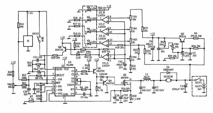 这个合适吗?图是36v电源.有刷电动车无级调速控制器线路图