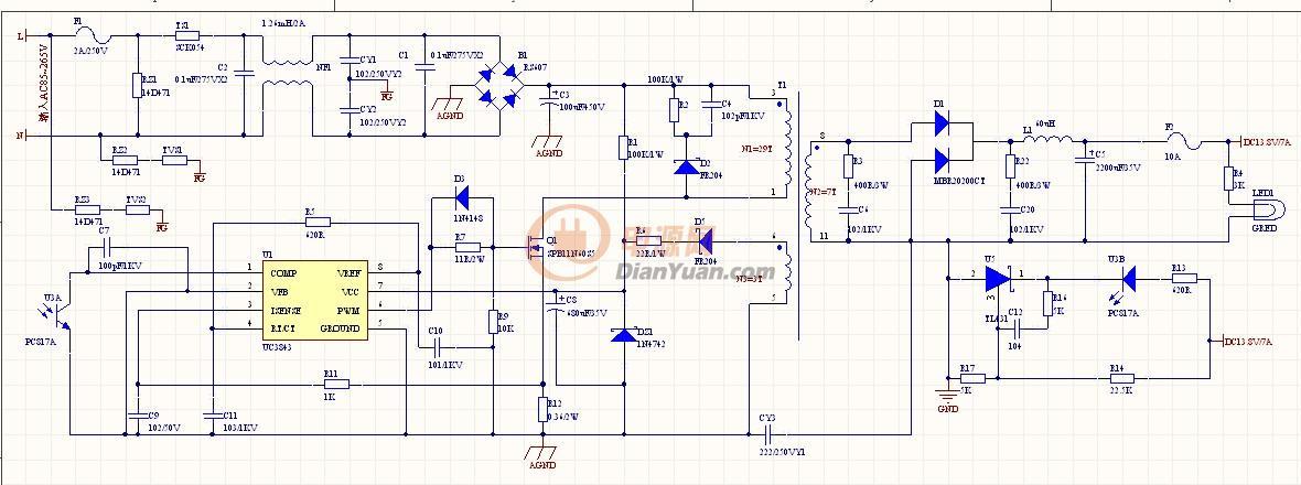 氙灯电源接线图