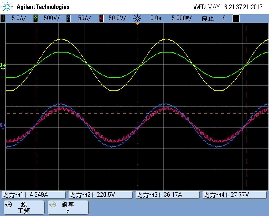 可以排除变压器及后续电路的问题,下图1为重载时电压电流波形(黄红),2