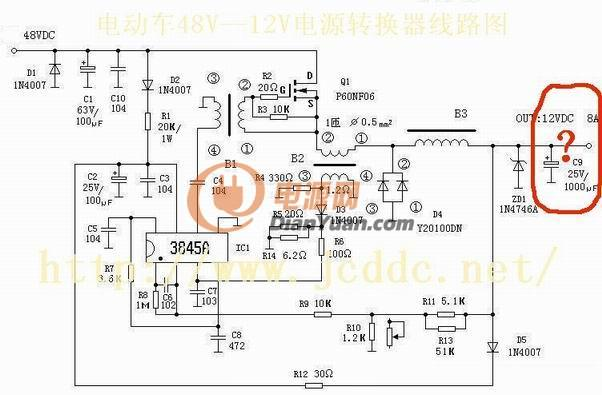 新手求助一个用uc3843做buck电路的问题图片