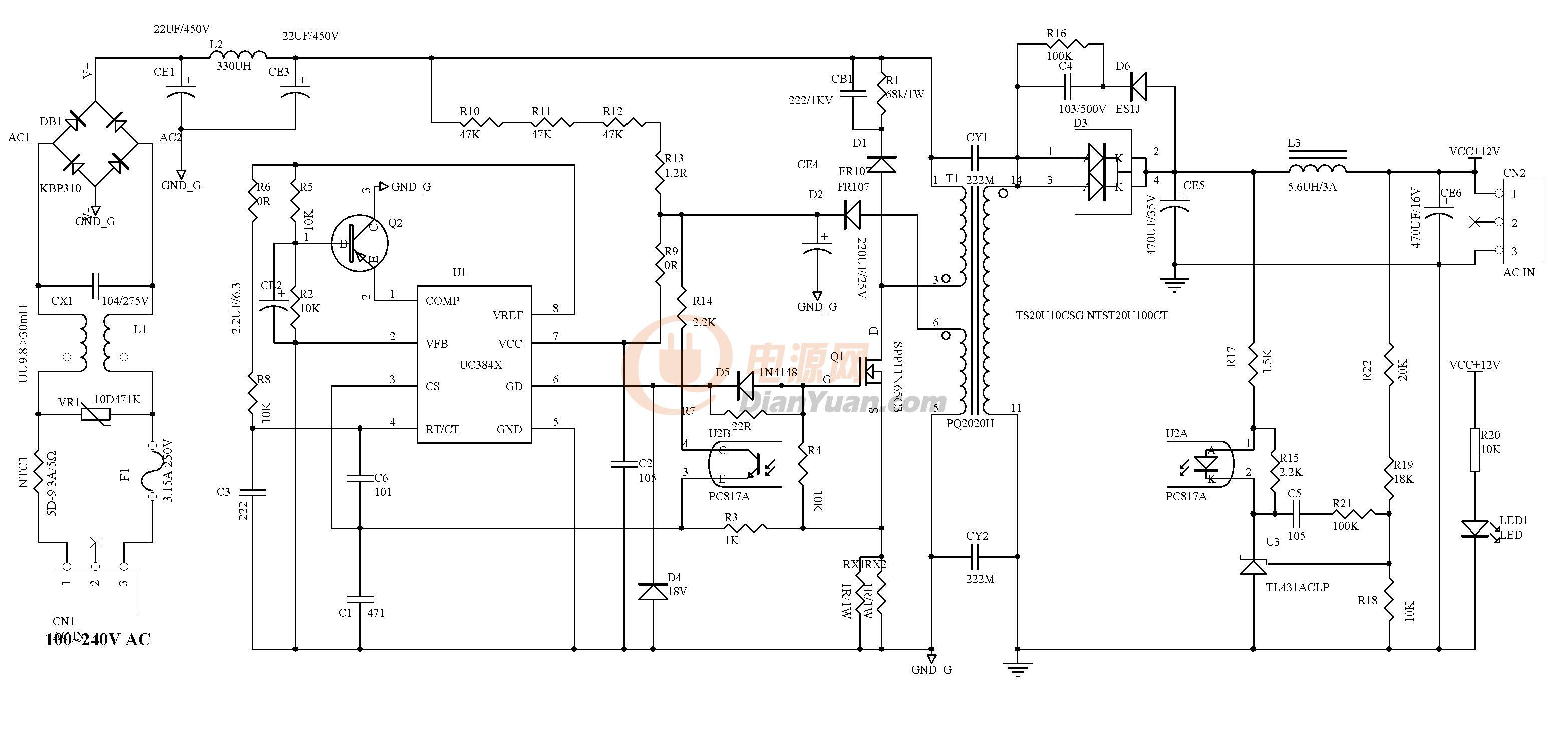 【设计大赛】一款适合diy的uc3843反激开关电源