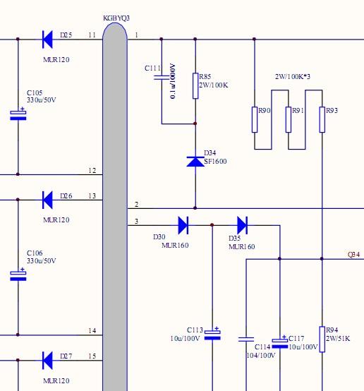 一个反激式开关电源电路,在他的初级输入端并了一个rcd吸收回路(c111