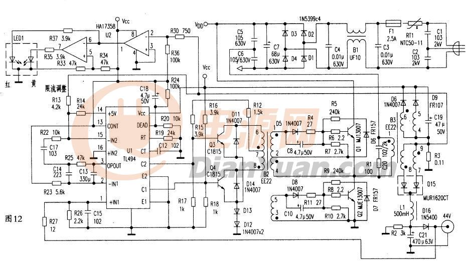 5v开关电源电路图_【问】谁有TL494普通半桥做的5V40A的显示屏电源图纸-电源网