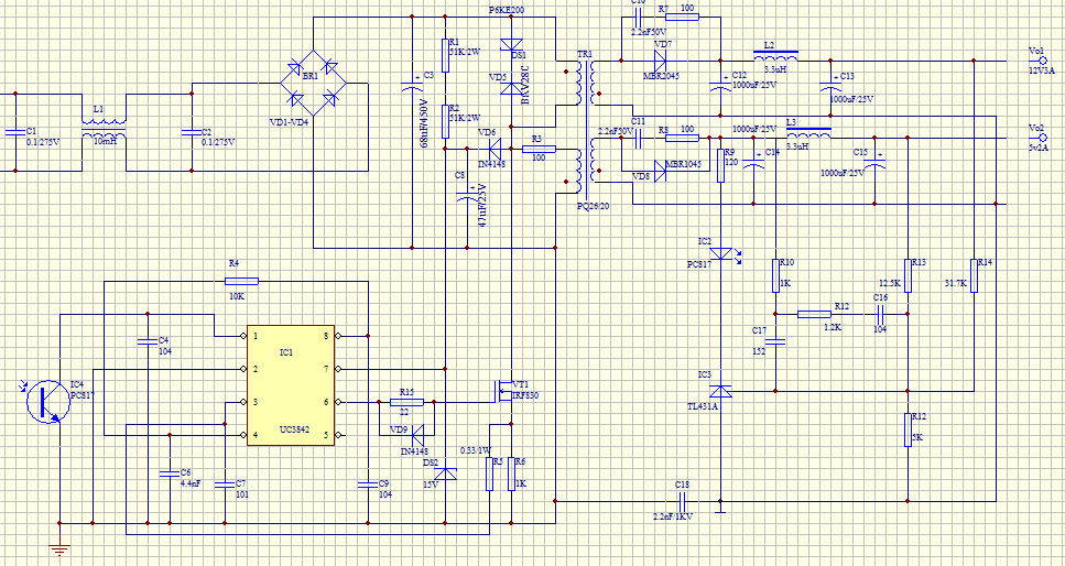 uc3842反激式电源不能带负载,求高手诊断!