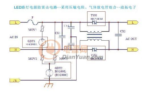 led路灯电源之防雷与防雷击电路设计方案
