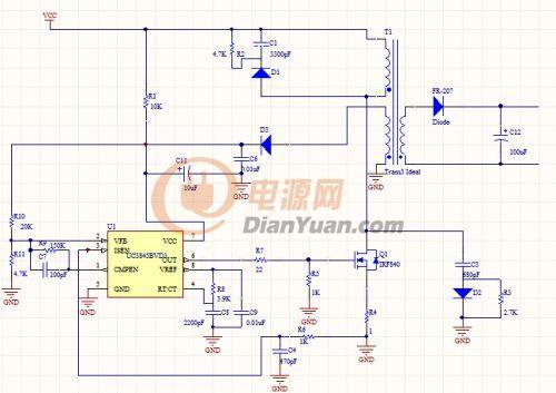 基于uc3845的反激式开关电源