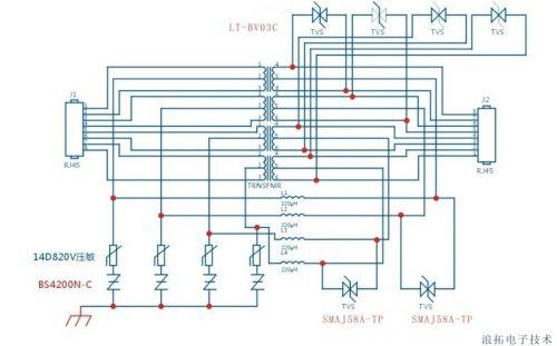 poe供电以太网防护电路