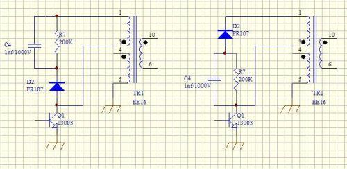 rcd吸收电路可以这样接吗,两者有什么区别?