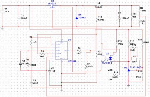 基于uc3842的buck电路里面的光耦驱动mos管图片