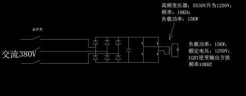 再用高频变压器升压为1250v